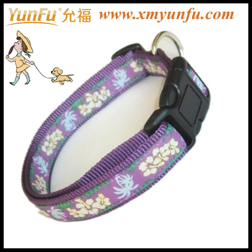 Stylish Fabric dog leather collar retractable pet leash