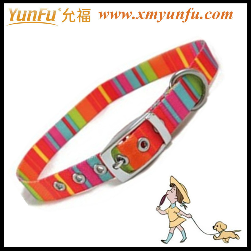 Fashion multicolor velcro rainbow pet collar for dog collar