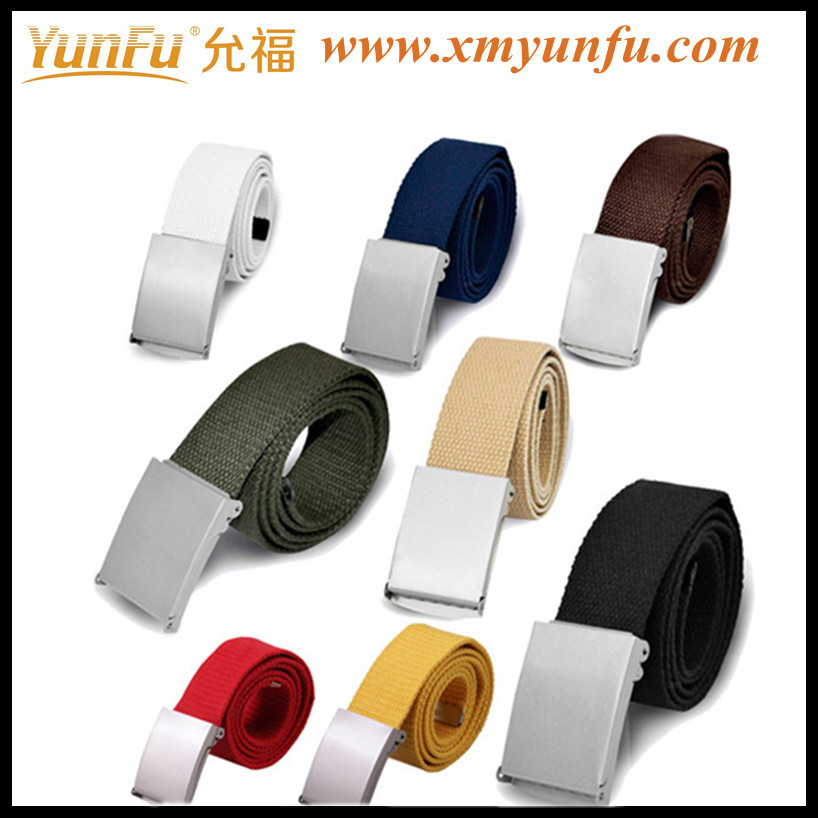 Fashion Multicolor canvas belts for women With Metal Buckle