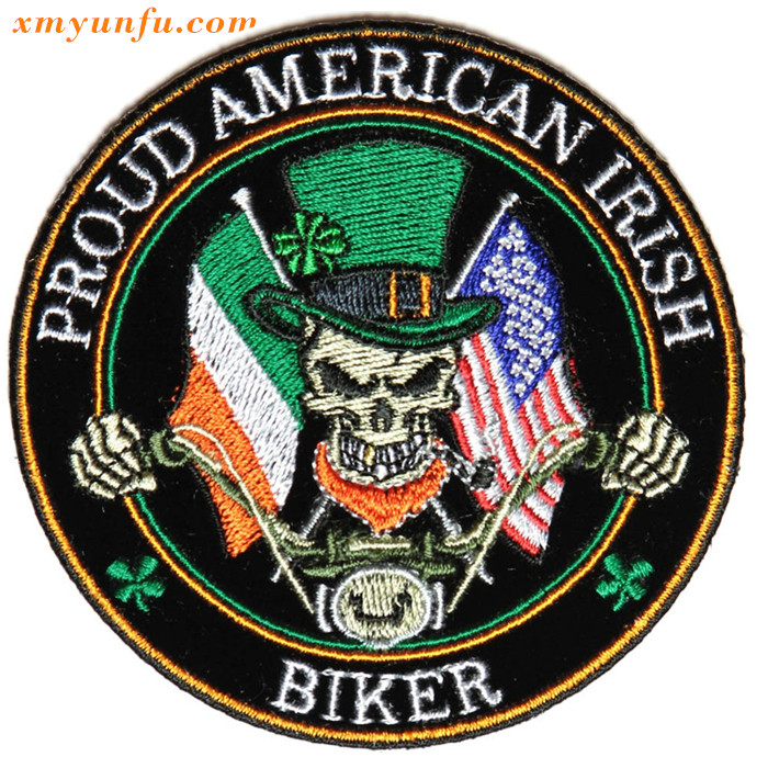 Proud American Irish Biker Patch Small Sports Embroidered Patches