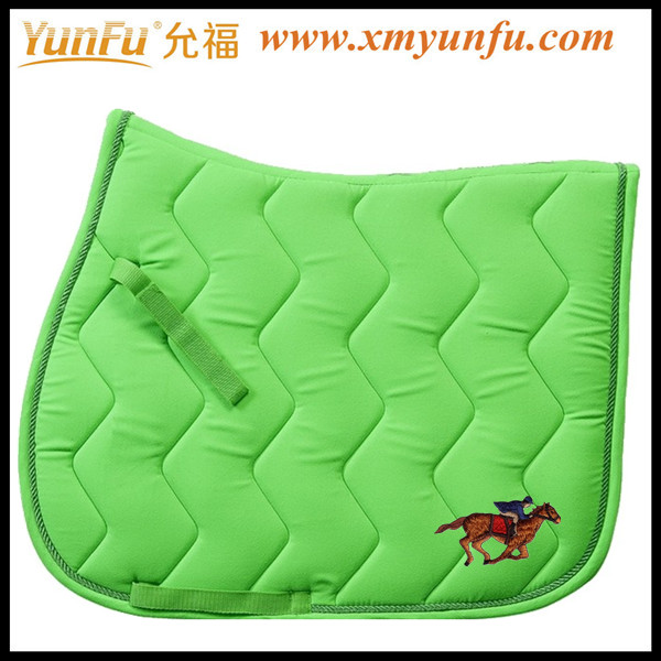 Horse used to Lime green saddle pad