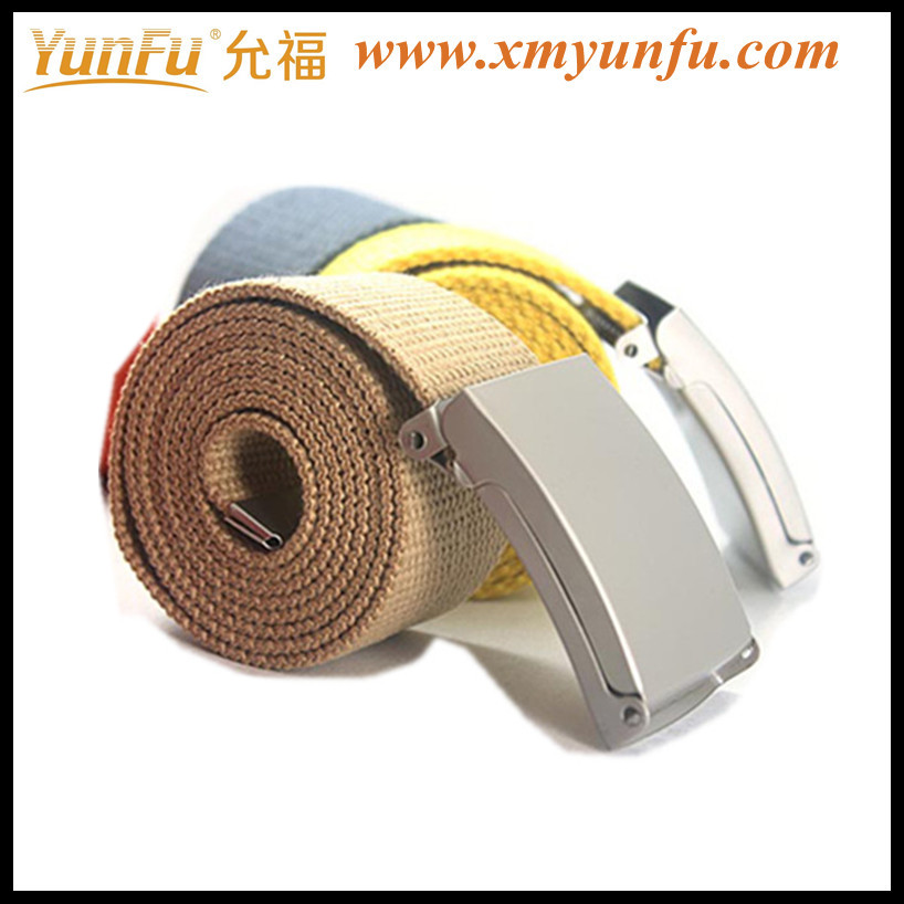 New Colorful White Cotton Belt With Metal Buckle