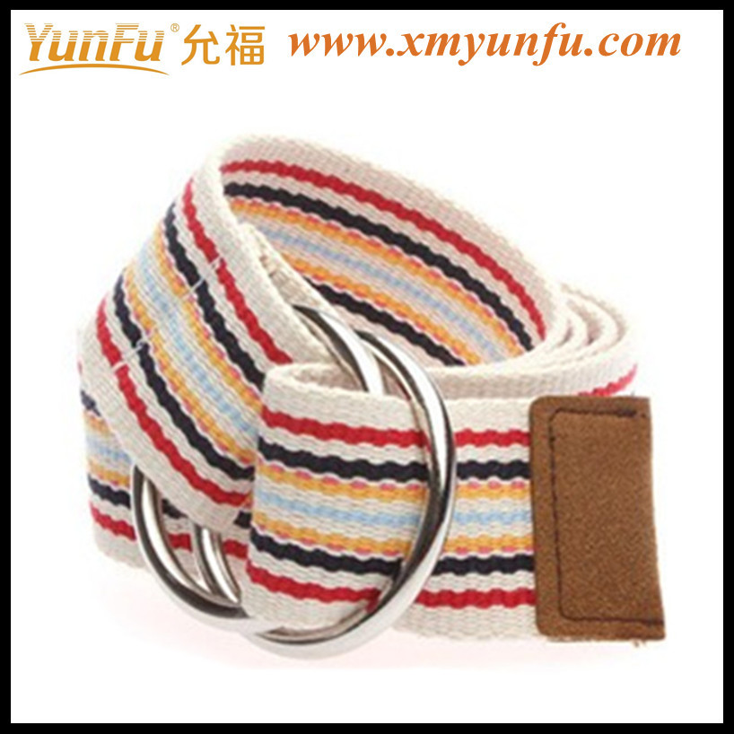 Fashion D Ring Lady Colored Webbing Belt