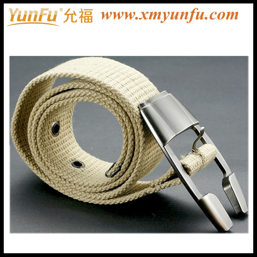 Beige Stylish Polyester webbing belts with Buckle & eyelet