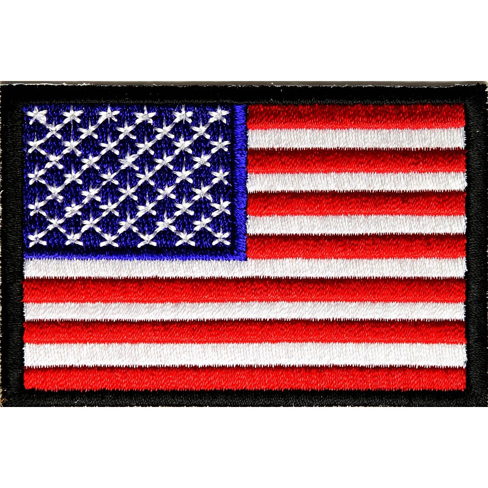US Flag Black Border Patch 3 Inch
