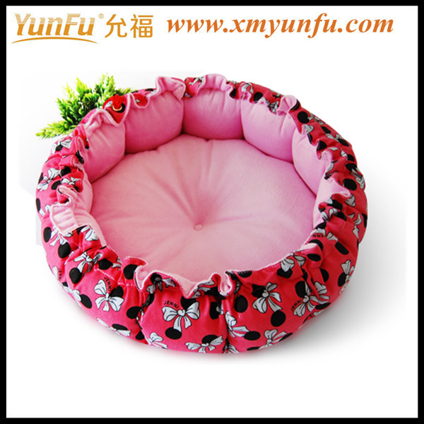 High Quality Pet Bed Wholesale Comfortable Round Cute Pink Dog Bed