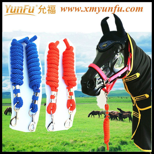 Stripe Nylon Horse Halter with Brass Hardware and Horse Lead Rope