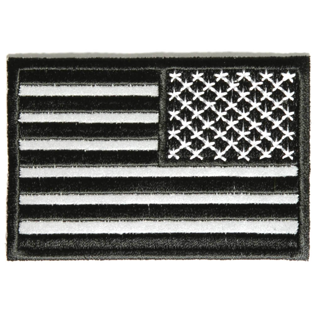 Reverse Black Reflective US Flag Embroidery Patches Badges