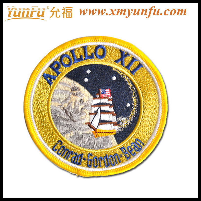 Quality Golden Embroidered Patches with Iron-On Backing
