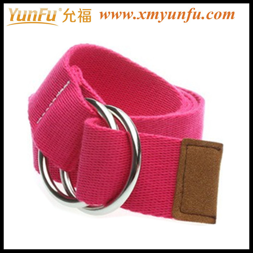 Pink Cheap Canvas Belt With Metal Buckle